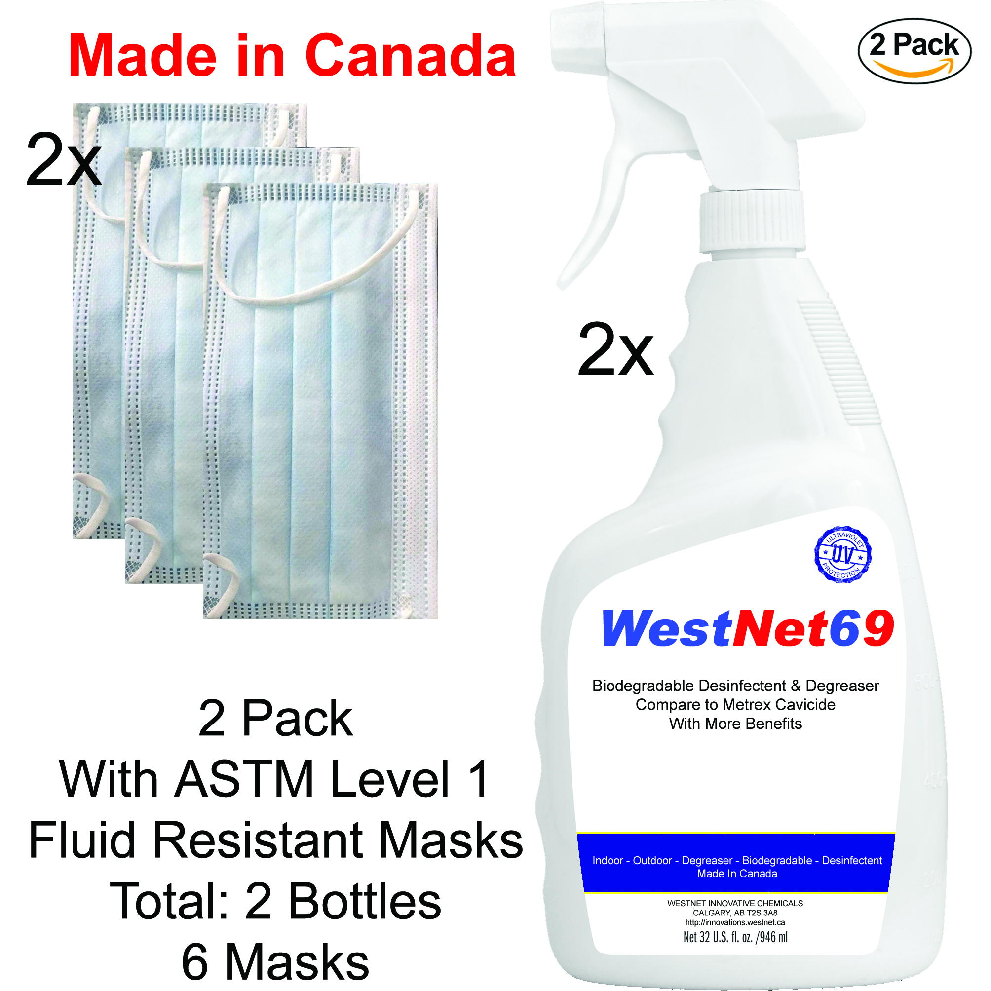 2x Biodegradable Disinfectant Cleaner Trigger Spray 32oz 950ml w
